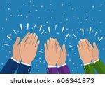human hands clapping. applaud...   Shutterstock .eps vector #606341873