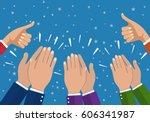 human hands clapping. applaud...   Shutterstock .eps vector #606341987