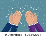 human hands clapping. applaud... | Shutterstock .eps vector #606342017