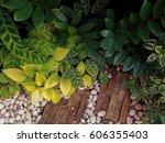 tropical garden design with... | Shutterstock . vector #606355403