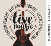 banner with acoustic guitar ...   Shutterstock .eps vector #606361547