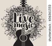 banner with acoustic guitar and ... | Shutterstock .eps vector #606361553