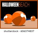 halloween design with beach... | Shutterstock .eps vector #606374837