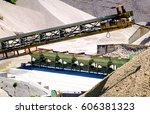 conveyor belts at a gravel...   Shutterstock . vector #606381323