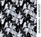 paisley seamless pattern. black ... | Shutterstock .eps vector #606387107
