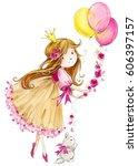 cute princess. little girl... | Shutterstock . vector #606397157