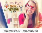 digital marketing text with... | Shutterstock . vector #606400223