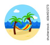 hammock with palm trees on... | Shutterstock .eps vector #606401573
