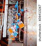gas instrument isolation lock... | Shutterstock . vector #606413267