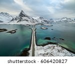 olstind mount and bridge from... | Shutterstock . vector #606420827