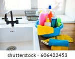 basket with cleaning items on...   Shutterstock . vector #606422453