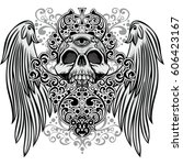 gothic coat of arms with skull  ...   Shutterstock .eps vector #606423167