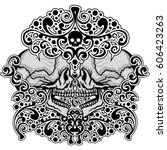 gothic coat of arms with skull  ...   Shutterstock .eps vector #606423263