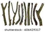 set of sticks covered in lichen ... | Shutterstock . vector #606429317