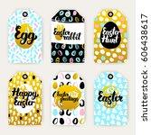 easter gold gift labels. vector ... | Shutterstock .eps vector #606438617