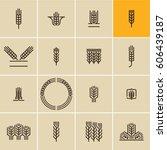 wheat ear icon set  wheat ears  ... | Shutterstock .eps vector #606439187