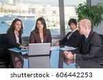 two latin businesswomen... | Shutterstock . vector #606442253