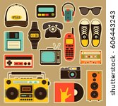 vector old style equipments ... | Shutterstock .eps vector #606443243