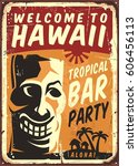 retro hawaii metal sign for... | Shutterstock .eps vector #606456113