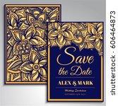 wedding invitation card suite... | Shutterstock .eps vector #606464873
