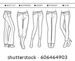 several silhouettes of trousers | Shutterstock .eps vector #606464903