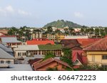 rooftops of cayenne in french... | Shutterstock . vector #606472223
