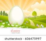 easter eggs  meadows  flowers ... | Shutterstock .eps vector #606475997