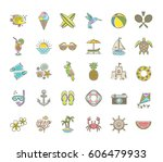 line drawing vector icons  ... | Shutterstock .eps vector #606479933