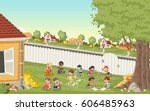 cartoon kids playing in suburb... | Shutterstock .eps vector #606485963