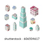 isometric city buildings  set... | Shutterstock . vector #606504617