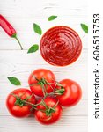 tomato ketchup sauce in a bowl... | Shutterstock . vector #606515753