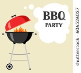 bbq party background with grill ... | Shutterstock .eps vector #606526037