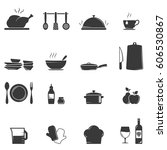 kitchen and culinary icons on... | Shutterstock .eps vector #606530867