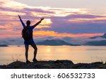 girl hiking silhouette in... | Shutterstock . vector #606532733