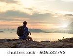 girl hiking silhouette in... | Shutterstock . vector #606532793