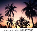 palm trees on the background of ... | Shutterstock . vector #606537083