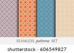 set of 4 seamless geometric... | Shutterstock .eps vector #606549827