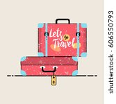 retro suitcase with buckles.... | Shutterstock .eps vector #606550793