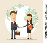 business man and woman  shake... | Shutterstock .eps vector #606558863