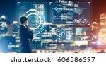 back view of businessman... | Shutterstock . vector #606586397