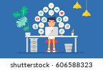 web social network concept for... | Shutterstock .eps vector #606588323