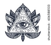 vintage all seeing eye in... | Shutterstock .eps vector #606588533