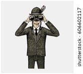 man in costume looking through... | Shutterstock .eps vector #606602117