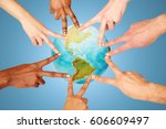 earth day  diversity  ethnicity ... | Shutterstock . vector #606609497