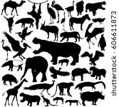 Stock vector animal silhouettes set isolated on white background 606611873
