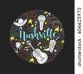 the circle with the nashville   ... | Shutterstock .eps vector #606625973