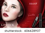 red lipstick ad with model face ... | Shutterstock .eps vector #606628937