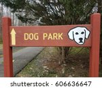 red dog park sign with white... | Shutterstock . vector #606636647