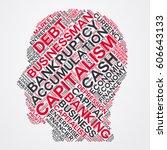 capitalism word cloud head... | Shutterstock .eps vector #606643133