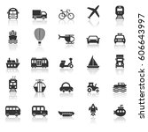 transportation icons with... | Shutterstock .eps vector #606643997
